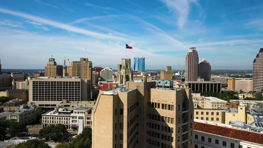 4K San Antonio Tx Fast Fly By Texas Flag San Antonio Skyline Blue Sky Drone