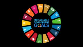 Motion Graphic Animation SDGs 17 Global Goals - United Nation Sustainable Development - Transparent Alpha Clip for Non Profit Organization