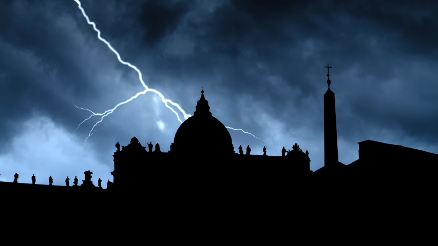 Vatican City: St. Peter's Square and Saint Peter Basilica in Silhouette, Thunderstorm and Lightning Time Lapse in Dark Night, Rome, Italy | Shutterstock HD Video #1041016361