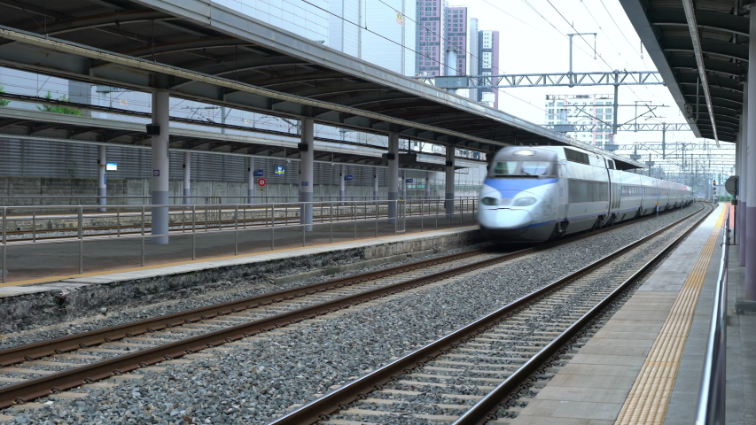Daegu Korea , 30 September 2019 : KTX bullet train passing at high speed at Daegu station in South Korea