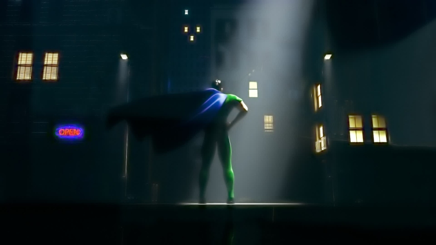 Superhero standing on the street at the foggy night. Cartoon character in macho pose lighted by city lights. Muscular protector in the costume with cape flapping on the wind. Town guardian.