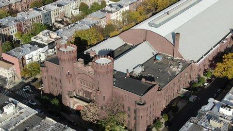 Brooklyn, NY / USA - October 1, 2019 : Aerial of Bedford-Stuyvesant (Bed-Stuy), a neighborhood in Brooklyn, New York.
