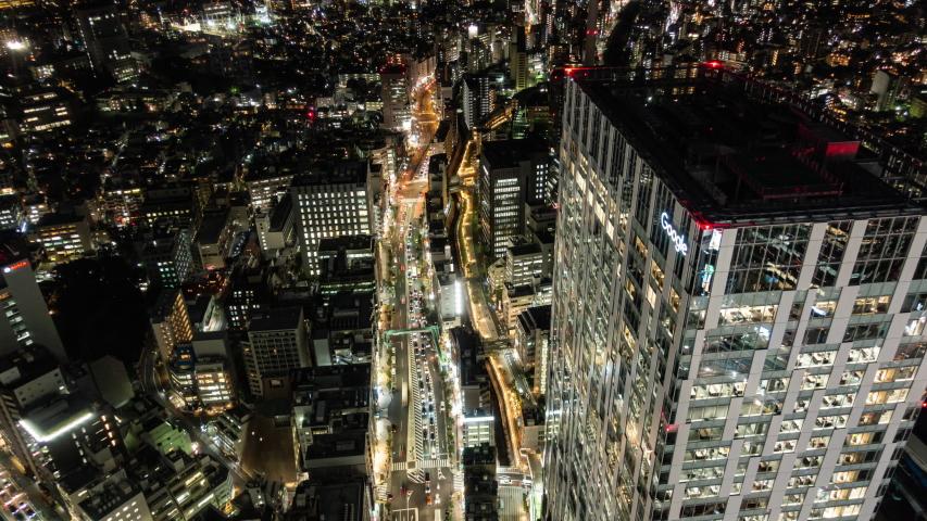 Shibuya, Tokyo, Japan - November 5, 2019: Google Japan HQ (time lapse/zoom in) | Shutterstock HD Video #1041087490