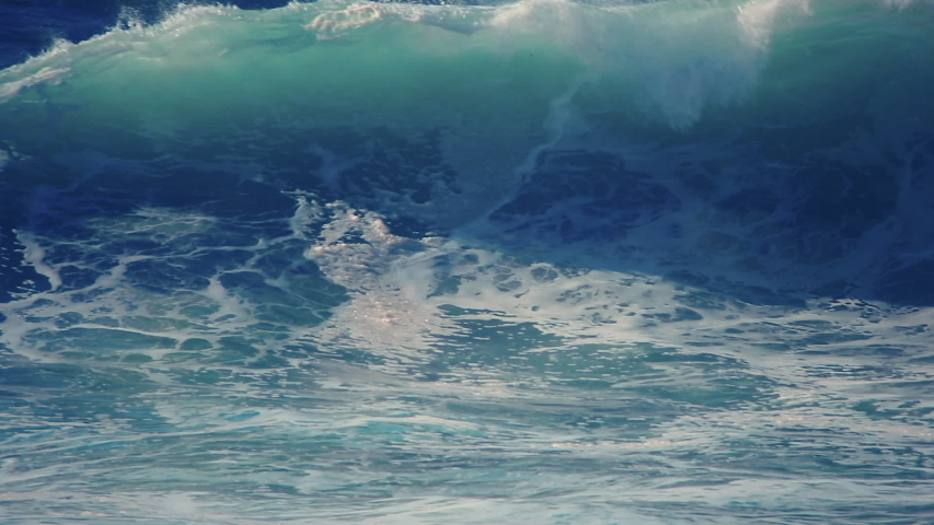 Big ocean wave swell. Slow motion water roll. Blue tropical sea nature. Beautiful Pacific hollow rush. No people nobody close up. Epic force splash, spray. Seaside tube break point. Pipeline curl tide | Shutterstock HD Video #1041114805
