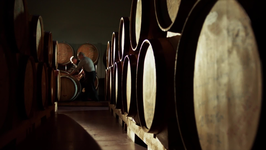 Worker in wine , whiskey or brandy warehouse sorting and rotating barrel . Two winemakers in vintage , traditional wine factory rolls barrel . Shot on ARRI ALEXA Cinema Camera in Slow Motion .