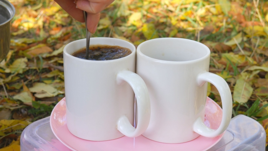 Coffee Outdoors Stock Footage