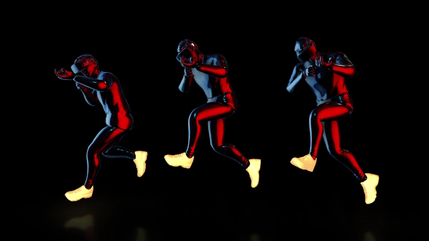 Male Athletes wear futuristic metallic neon costumes and VR 360 headset training for playing games in virtual reality, 3D rendering animation.  | Shutterstock HD Video #1041157984