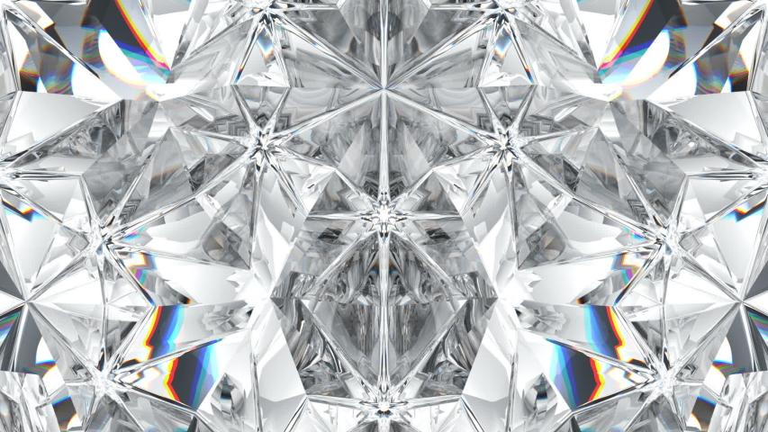 Sparkling diamond or gemstone macro rotating . kaleidoscope. 3d render. 3d animation