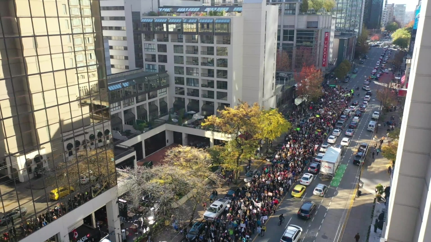 Climate Strike Protest Parade and March Streets of Vancouver Aerial Video Close | Shutterstock HD Video #1041171337