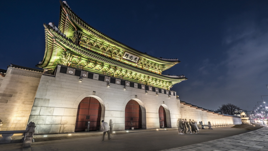 "Gwanghwamun Gate, the main gate of Gyeongbokgung Palace - Seoul, Korea (Chinese text is ""Gwanghwamun Gate"") | Shutterstock HD Video #1041174973"