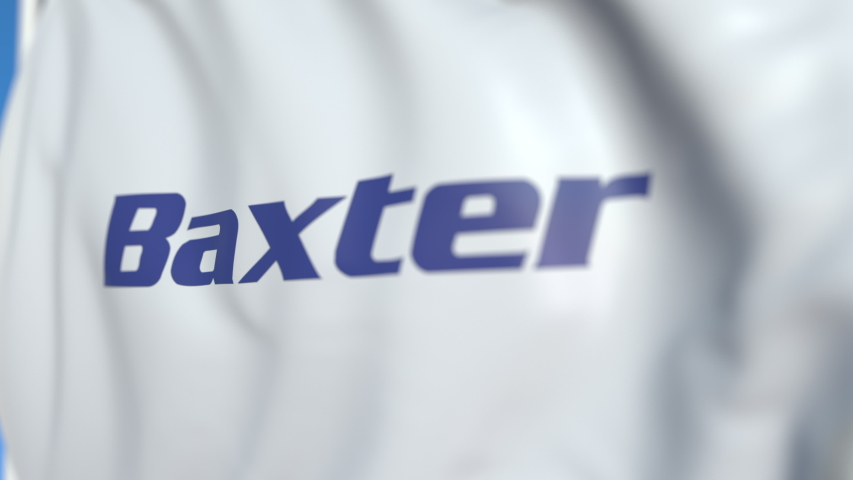 Flying flag with Baxter International logo, close-up. Editorial loopable 3D animation | Shutterstock HD Video #1041231820