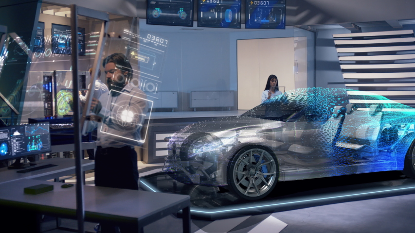 Mockup of Electric Vehicle: Automotive engineers working on design of Detailed Electric Car using futuristic transparent screens. High-tech facility. Hologram of full car appears on top of chassis.