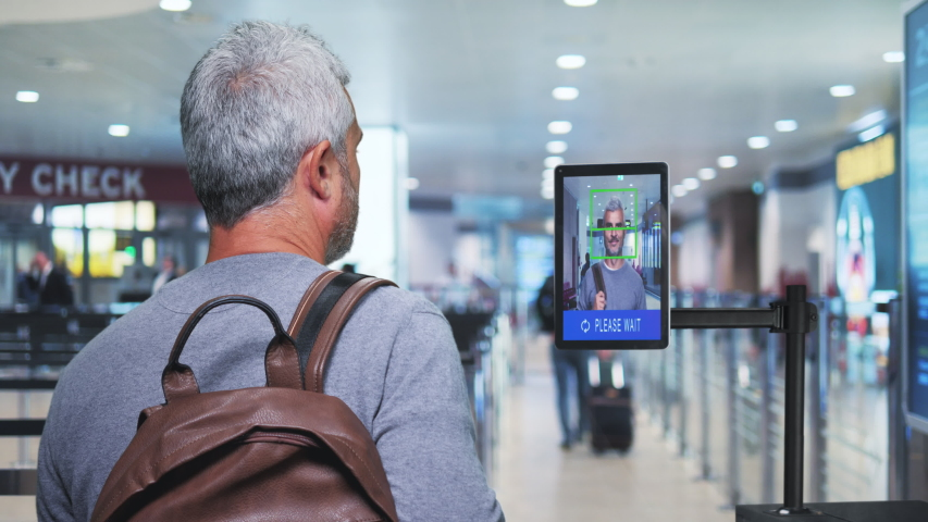 airport security check man get through ai facial recognition control system Royalty-Free Stock Footage #1041241843