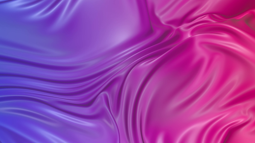 Animated texture in 4k. 3D animation of red violet gradient of wavy cloth surface that forms ripples like in liquid surface or folds in tissue. Red purple silky fabric with folds in slow motion. 27