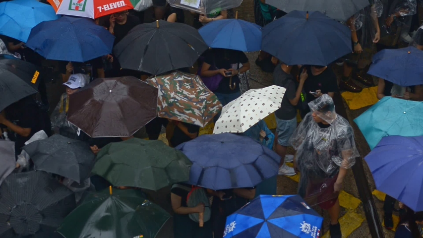 HONG KONG - CHINA 2019: top view of protesters people carrying umbrellas during demonstration in rain. peaceful assembly and anti government demonstrations. Anti-extradition bill protesters | Shutterstock HD Video #1041258472