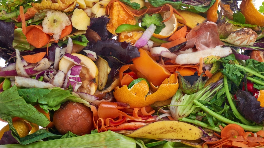 Food Waste. Compostable Food Scraps, time lapse. Domestic waste for compost from fruits and vegetables.