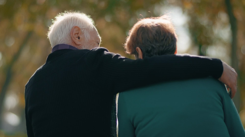 Back view of happy lovely caucasian senior couple sitting in bench and hugging each other . Rear view of romantic old couple sit on bench and enjoy in the open air . Happiness people . Slow Motion . | Shutterstock HD Video #1041293725