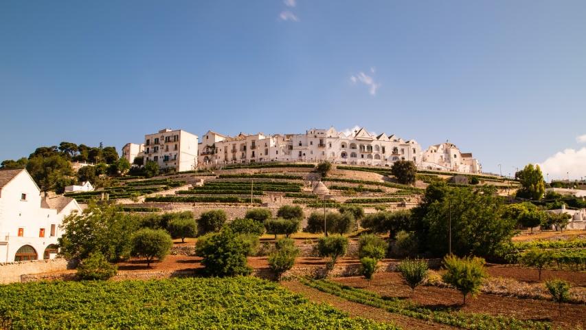 Panoramic view of Locorotondo. Puglia. Italy. Time-lapse. | Shutterstock HD Video #1041294841