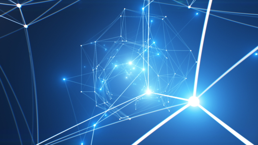 Beautiful Flight Through the Abstract Network Connections and Bright Nodes Seamless. Looped 3d Animation of Growing Network in Cyberspace with Flashing Lights. 4k UHD 3840x2160.   Shutterstock HD Video #1041296887