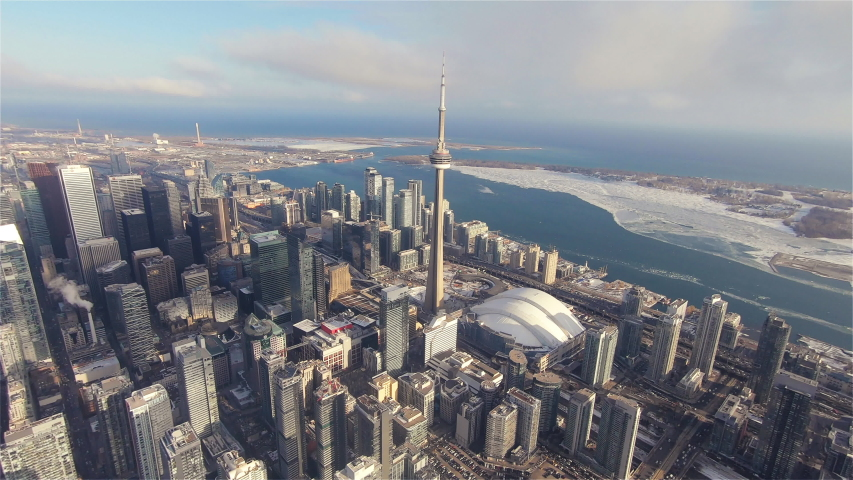 4K Aerial Sequence of Toronto, Canada - Downtown Toronto during the Winter