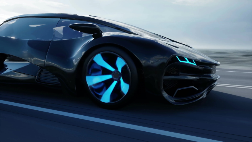 Black futuristic electric car on highway in desert. Very fast driving. Concept of future. Realistic 4k animation.   Shutterstock HD Video #1041352603