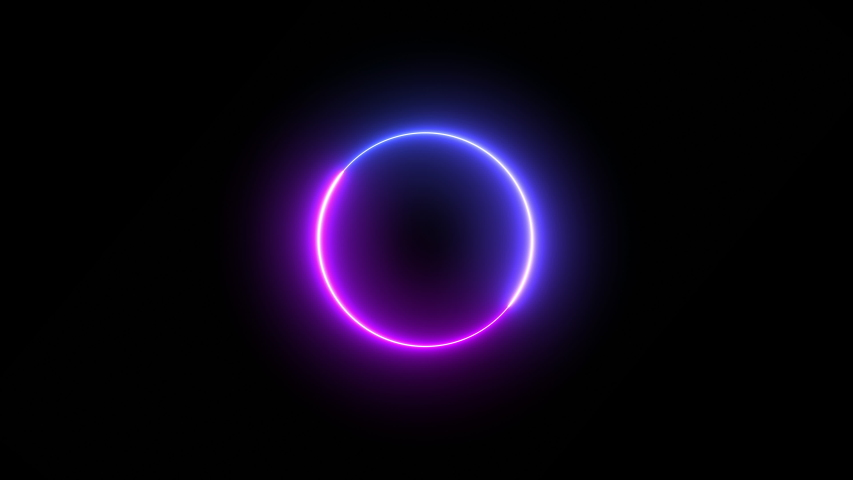 Modern pre loader pink and purple neon circle glowing and spinning in a spiral on a black background - looped | Shutterstock HD Video #1041370393