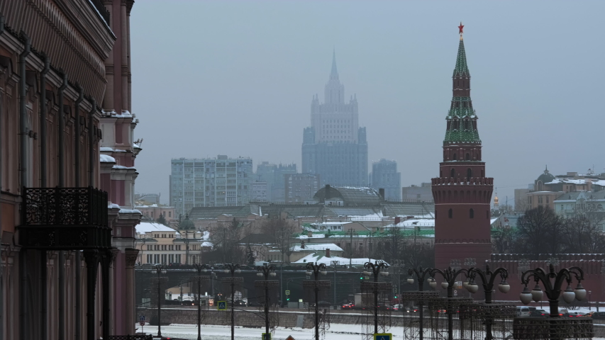 Nice European Modern City With Red Buildings in Winter, Scenery, Wide Shot #1041382519