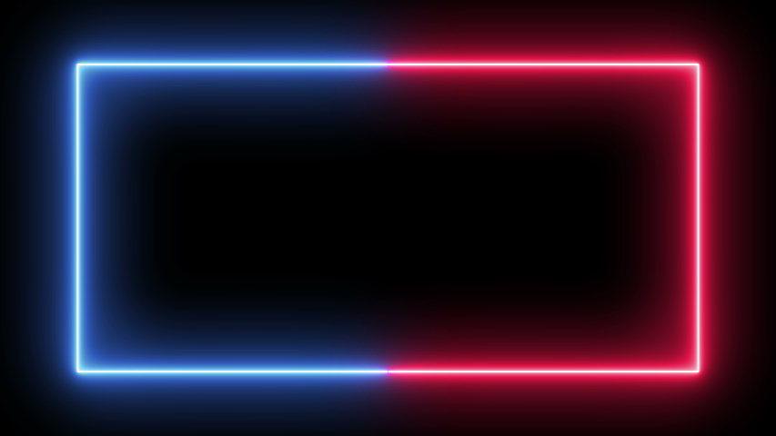 Neon bright blue and red Blink Square Frame with alpha transparent black&white background.  Winking flashes fluorescent bulb with empty space for your text or media. #1041391009