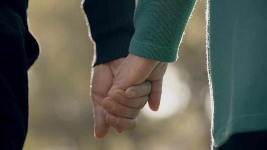 Back view of elderly couple holding hands while walking together in park . Senior couple on a walk in autumn nature. Happiness people lifestyle . Closeup of elderly couple hand . Slow motion footage