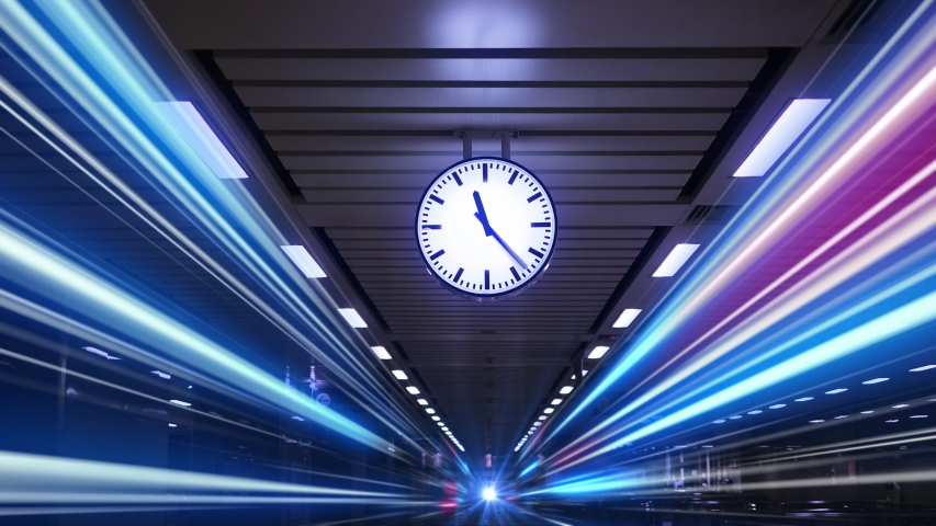 Rush hour traffic fast moving,Fast moving traffic drives time lapse clock moving fast light each subway lane effect line light cg Royalty-Free Stock Footage #1041437299