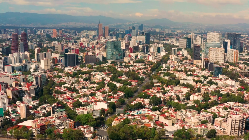 Mexico City, Mexico. October 31st, 2019. Aerial view of the Cuauhtemoc neighborhood in the central area of Mexico City.