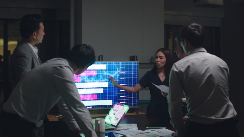 Asia businessmen and businesswomen meeting brainstorming ideas conducting business presentation project colleagues working together plan success strategy enjoy teamwork in small modern night office. Royalty-Free Stock Footage #1041450757
