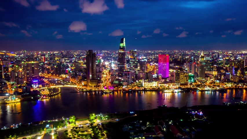 Aerial Hyperlapse of Bitexco at District 1 in Ho Chi Minh City at night