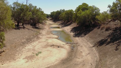 Aerial view of a dry river bed due to a severe drought (Australia, Darling River)