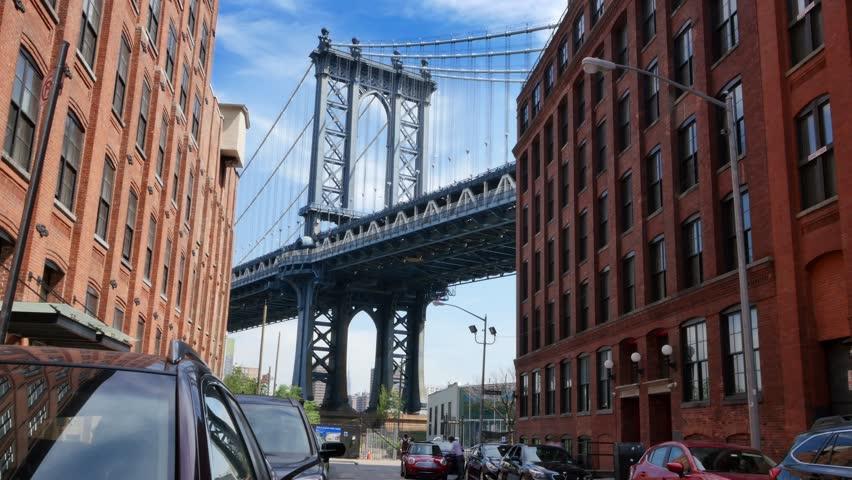 A time lapse establishing shot of the Manhattan Bridge as seen from Washington Street in Brooklyn.  | Shutterstock HD Video #10414766