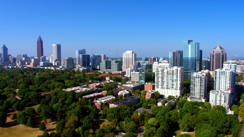 Gorgeous Atlanta Georgia Skyline, Sunny Day, 4K Aerial Drone