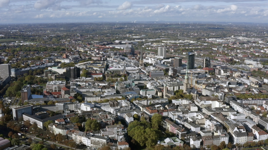 Aerial view of Dortmund in Germany. Above view of the city feat. city central and downtown landmarks in North Rhine-Westphalia region.    Shutterstock HD Video #1041490957