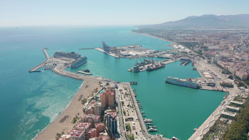 Aerial view. Port in Malaga. Malaga, Andalusia, Spain.