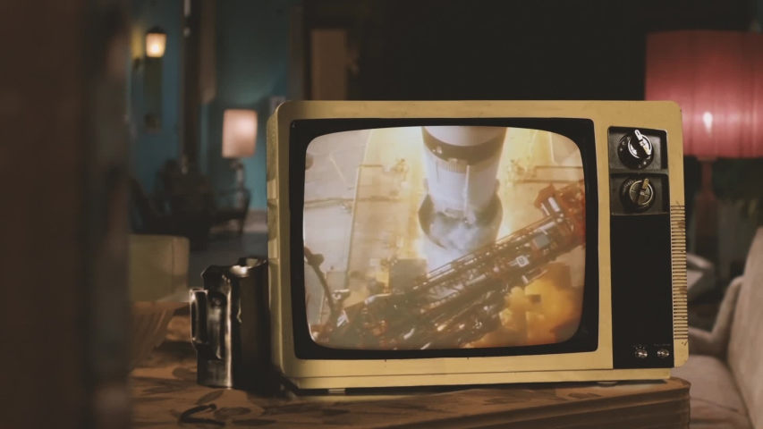 1969. Historical Footage Of The Saturn V Rocket Launch Of Apollo 11 Mission, On an Old Retro TV. Elements of this video furnished by NASA.   | Shutterstock HD Video #1041501769