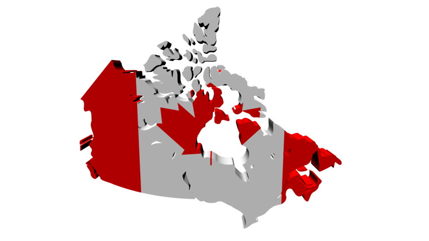 Canada Map Animation Canada Map Flag with Container Stock Footage Video (100% Royalty