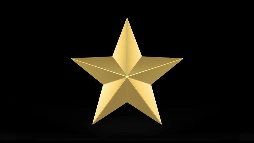 Loopable rotating golden star with white alpha channel on black footage background. | Shutterstock HD Video #1041505621