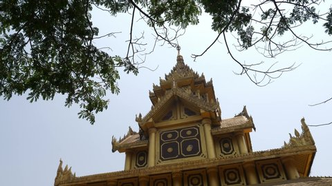 temple in myanmar with tree and copyspace