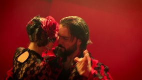 Beautiful couple dancing latin dance . Professional dancers dancing flamenco, rumba or salsa on red background. Pair in spanish dress performs dance movement. Shot ARRI ALEXA Camera in Slow Motion