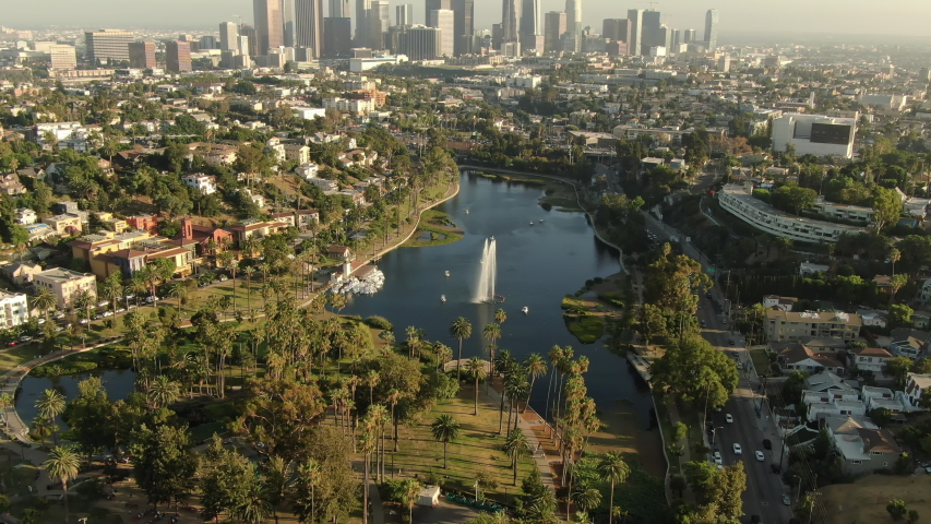 Los Angeles Downtown Sunset Skyline From Echo Park Lake Aerial Shot Forward Tilt Up | Shutterstock HD Video #1041511957