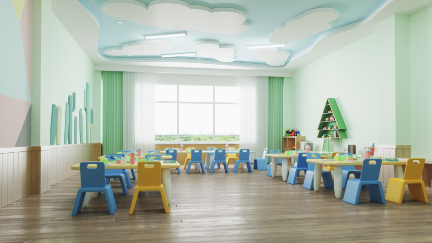 Interior of a modern empty preschool classroom | Shutterstock HD Video #1041519286