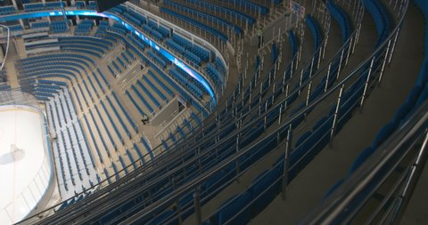 SAINT PETERSBURG, RUSSIA - APRIL, 2017: Hockey stadium before the match when no one is in the stands