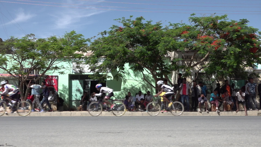 MEKELE, ETHIOPIA – MARCH 2019: Slow motion of speed cyclists taking part in local competition near Mekele in Ethiopia