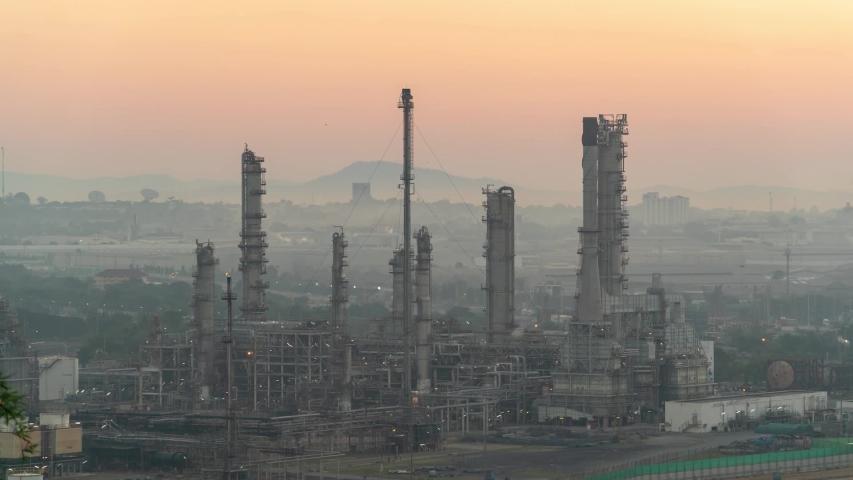 Timelap Oil refinery industry on Morning light | Shutterstock HD Video #1041578359