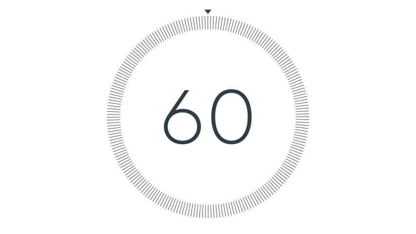 Minimal countdown one minute animation from 60 to 0 seconds. Modern flat design with animation on white background. High quality 4K video. | Shutterstock HD Video #1041598531