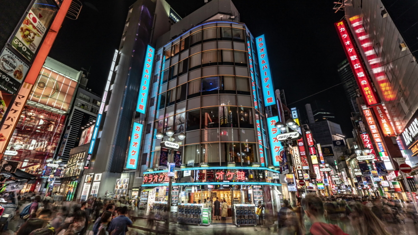 TOKYO, JAPAN - CIRCA MARCH, 2018: Shibuya at night, time lapse view. Shibuya is known as one of the fashion centers of Japan, particularly for young people, and for nightlife.
